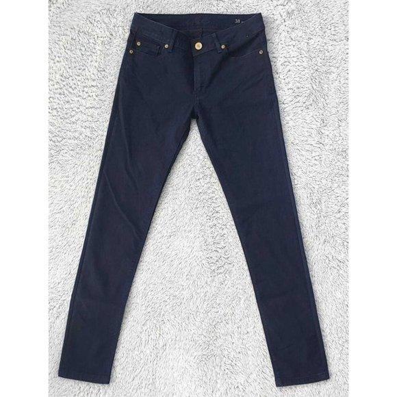 Zara SZ 38 US 6 Basic Denim Dept Z1975 Skinny Blue Dark Wash Low Rise Jeans EUC